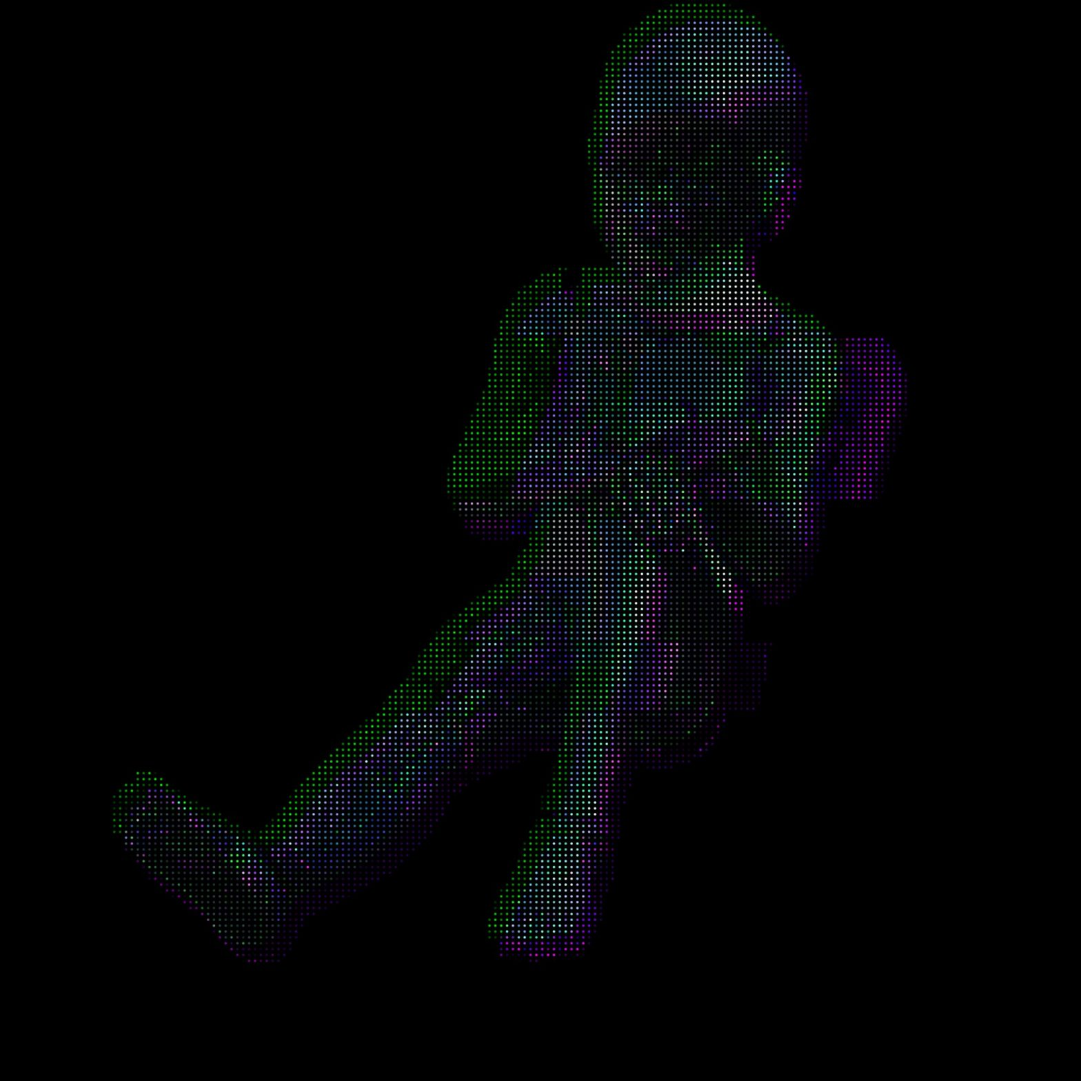 A glitchy robot kid