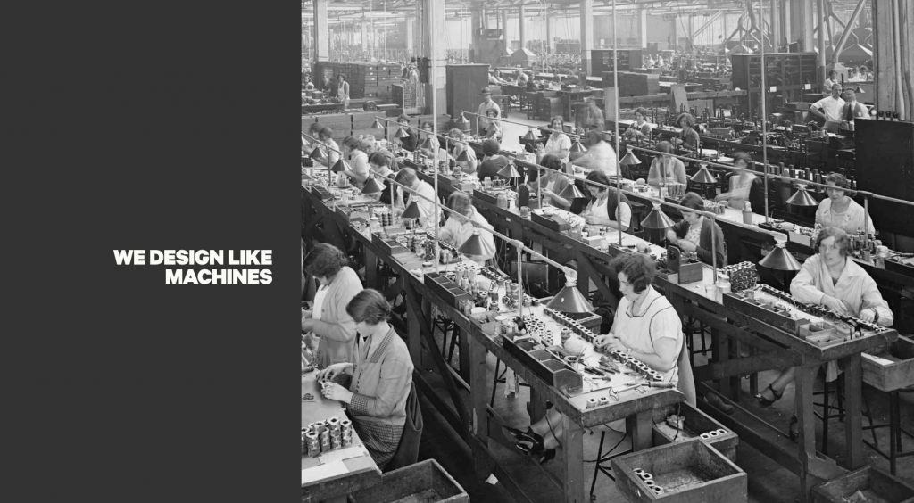 We design like machines, with photo of women working in a sweatshop assembly line